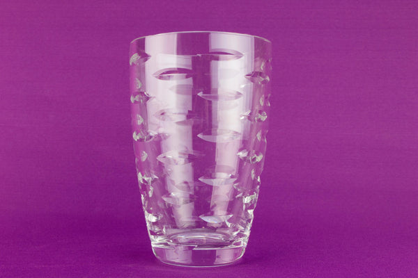 Cut crystal glass flower vase, English 1950s