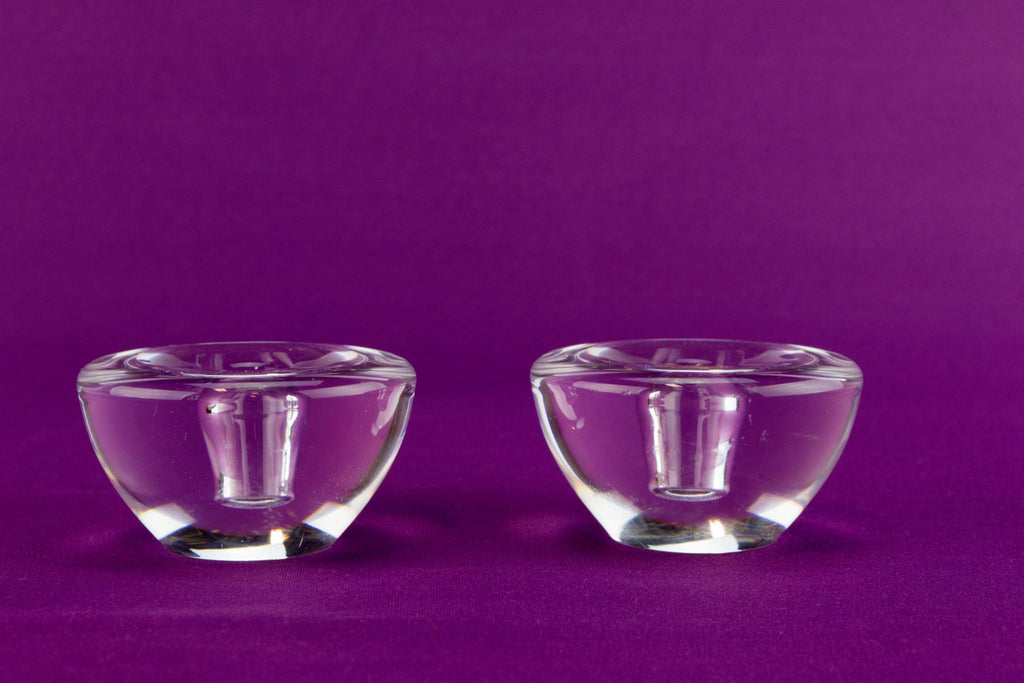 2 Orrefors crystal glass candlesticks, Swedish 1960s