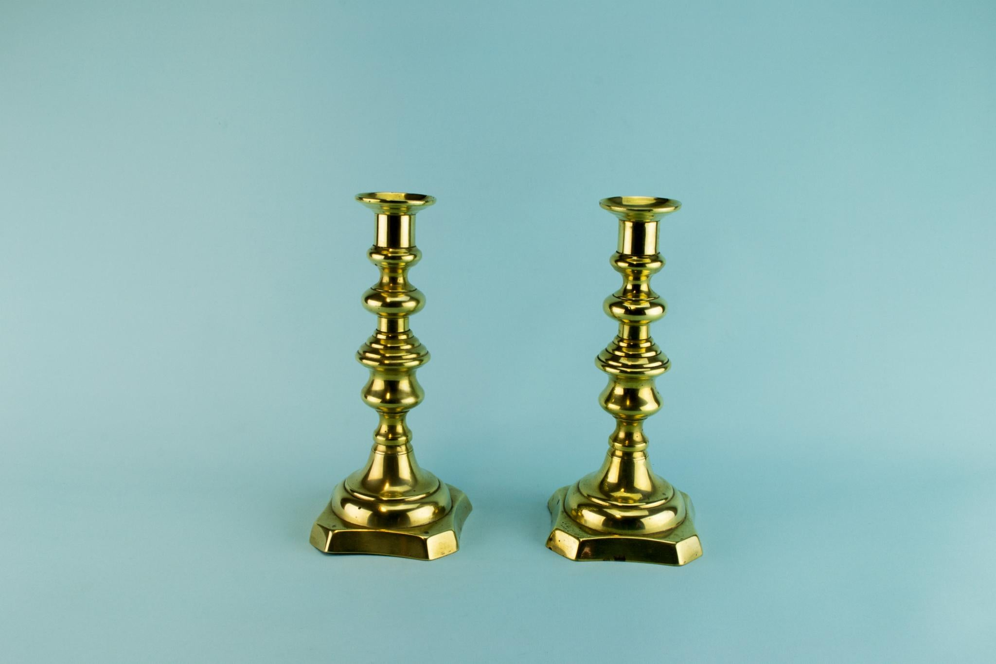 2 Brass Candlesticks, English Early 1800s