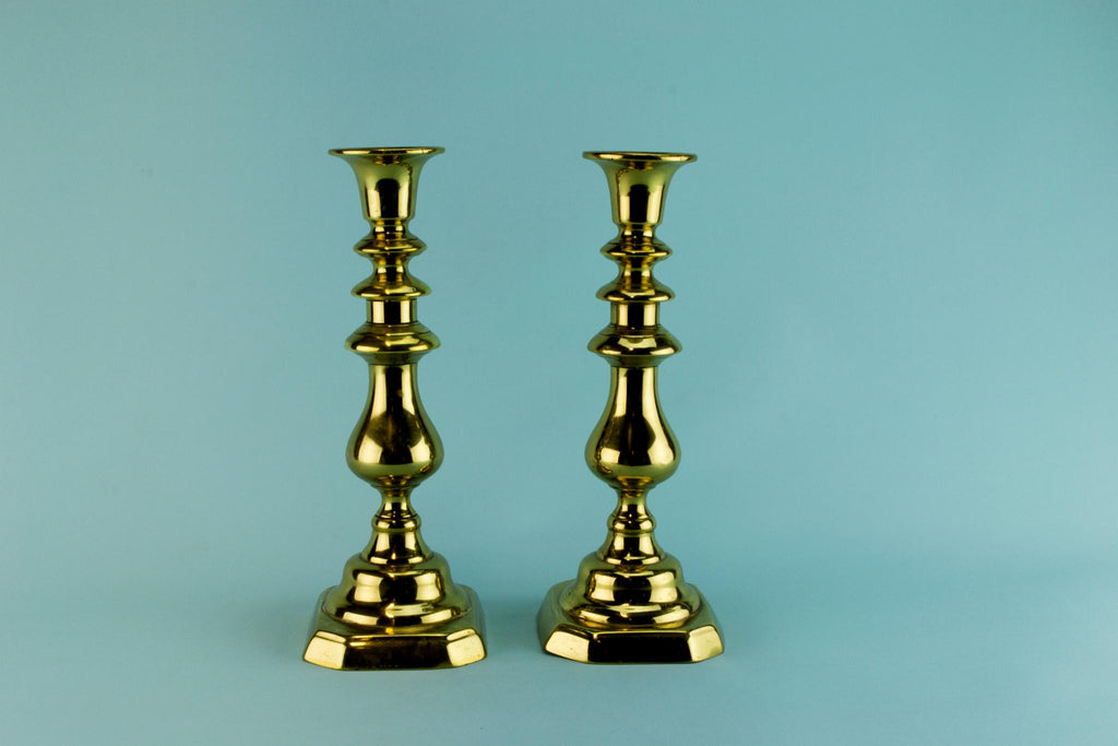 2 Large Brass Candlesticks, English Early 1800s
