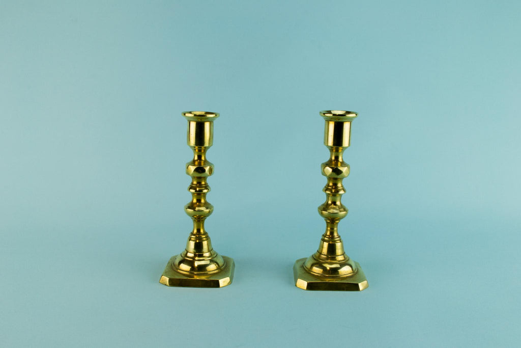 2 Small brass candlesticks, English mid 20th century