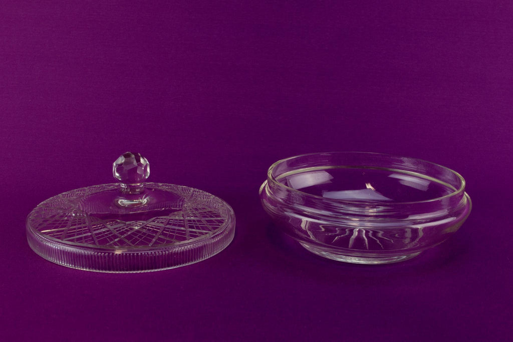 Dressing table cut glass bowl, English 1930s