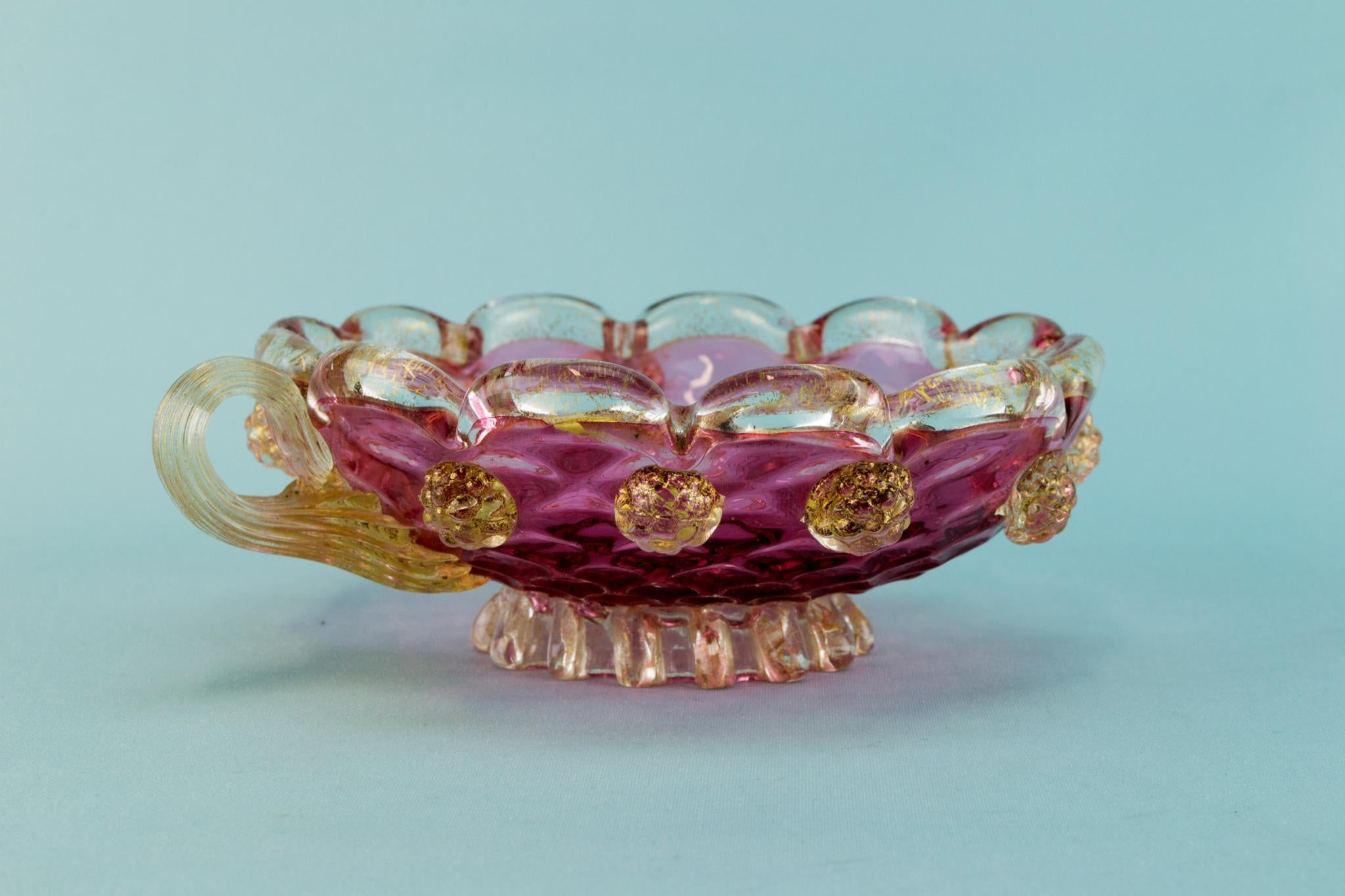Cranberry red glass small serving bowl, Italian 1950s