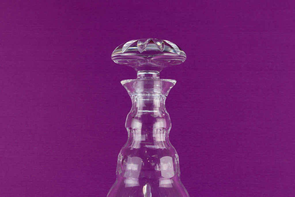 Barrel shaped cut glass port or sherry decanter