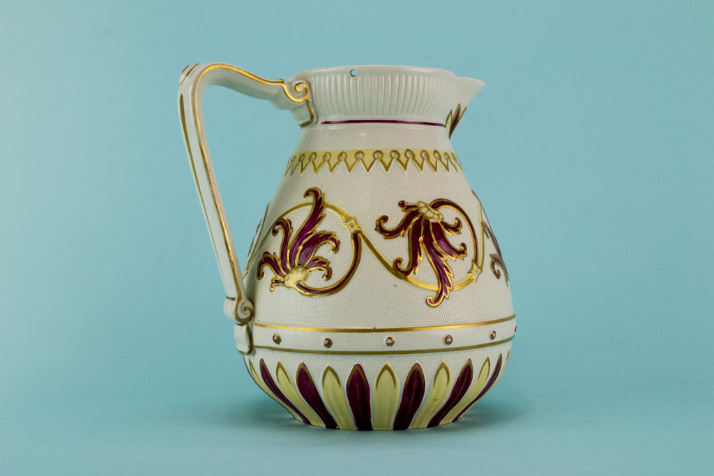 Red moulded jug, English 1870s