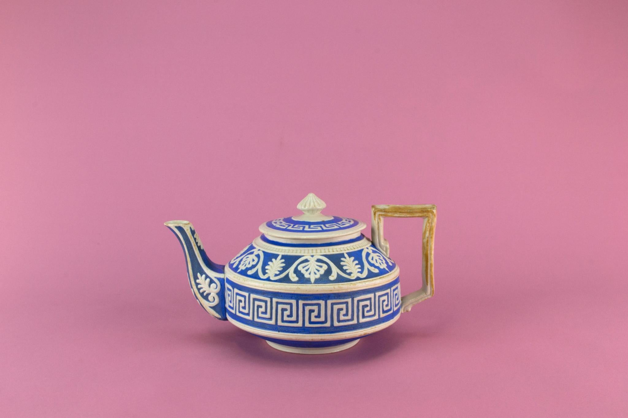 Blue and White Teapot, English 1870s