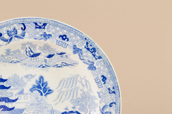 3 Blue Willow Small Plates, English 19th Century