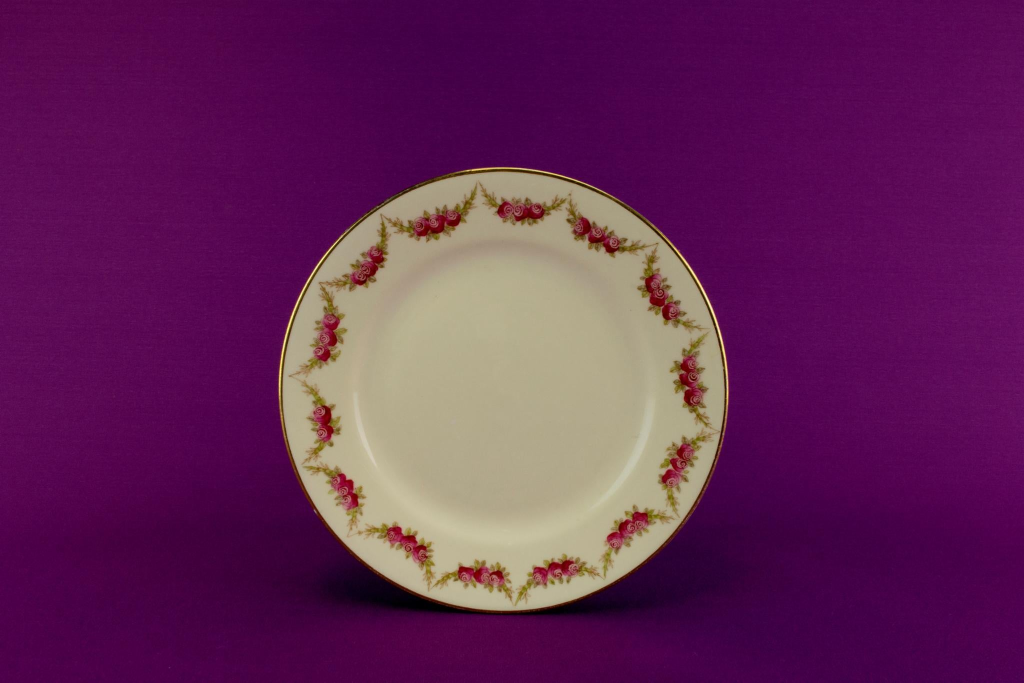 4 floral side plates, English circa 1910