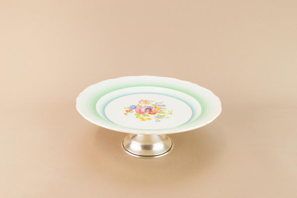 Green cake stand, English 1950s