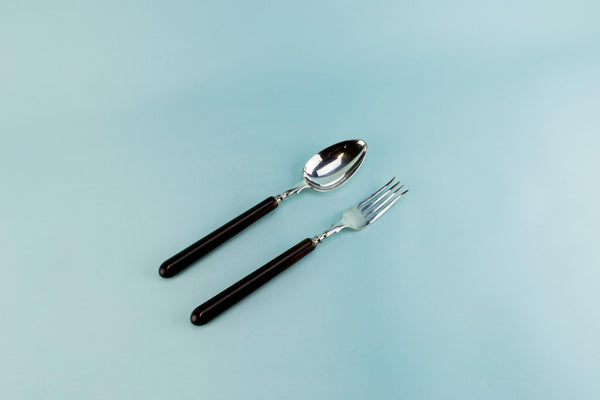 Serving fork and spoon set, English 1930s