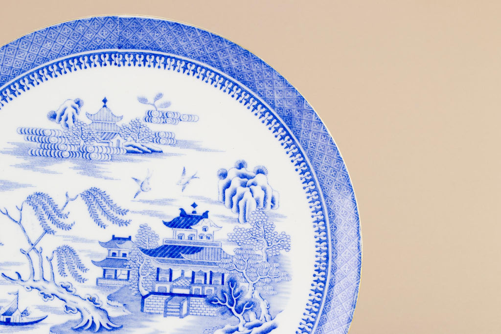 Blue and white willow cake plate, English Early 1900s
