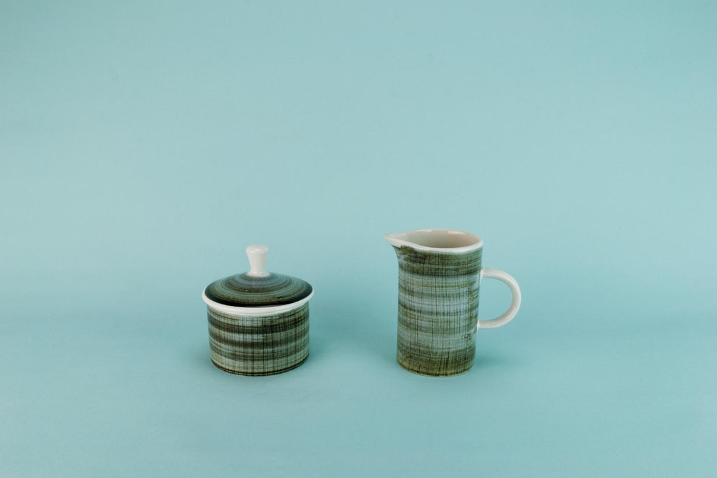 Green sugar and milk set, English 1970s