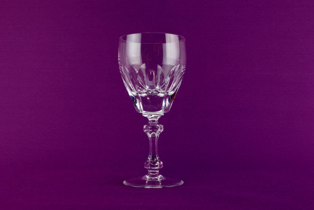 2 medium cut crystal wine glasses