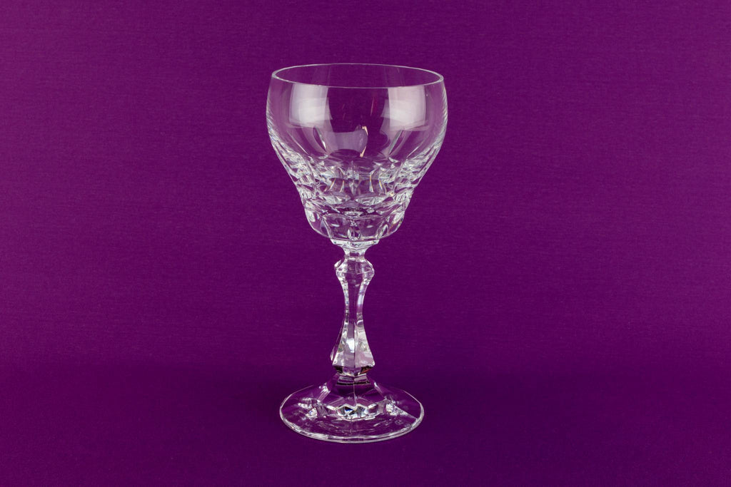 Pair of cut crystal wine glasses