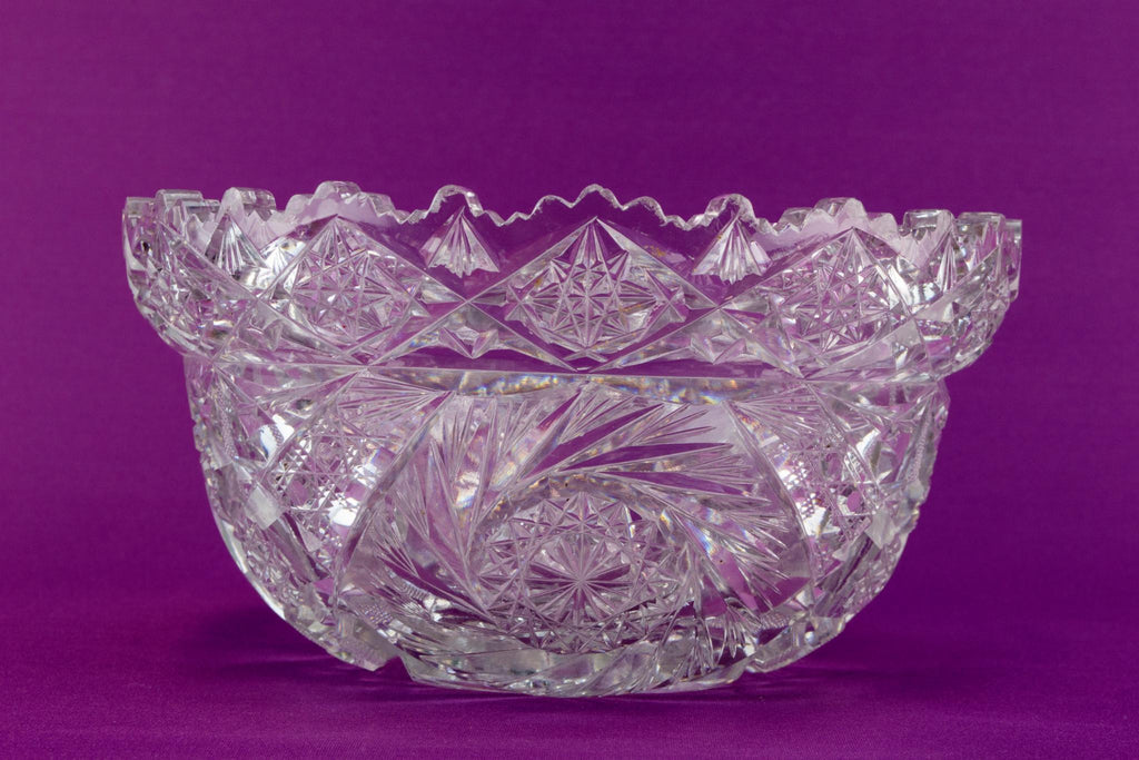 Heavy cut glass salad bowl, English 1950s