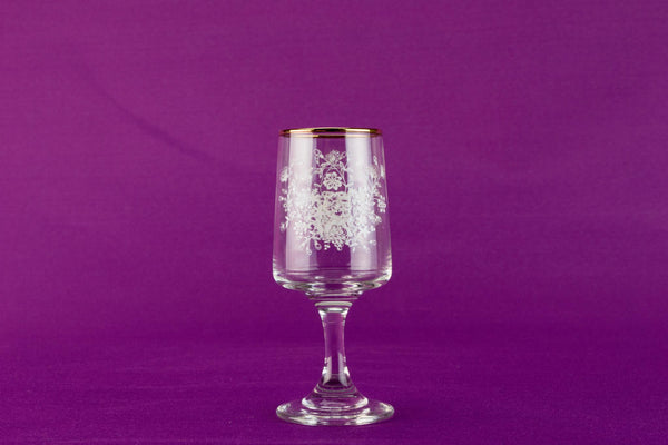 6 floral sherry glasses, English circa 1960
