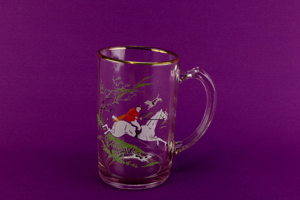 1 Pint Fox hunt beer glass, English 1950s