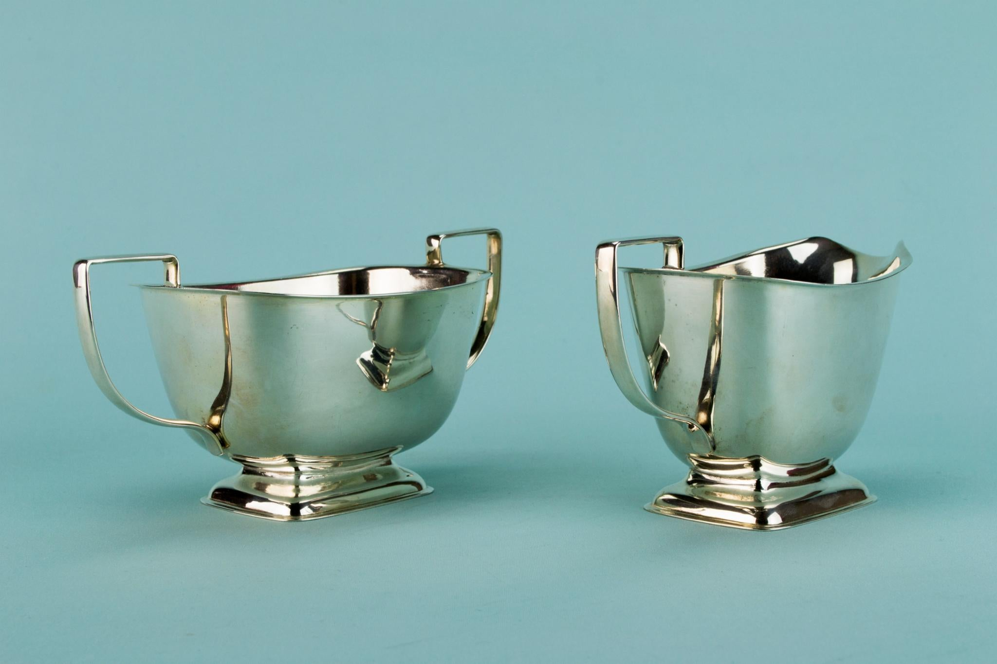 Art Deco silver plated tea set, English 1930s