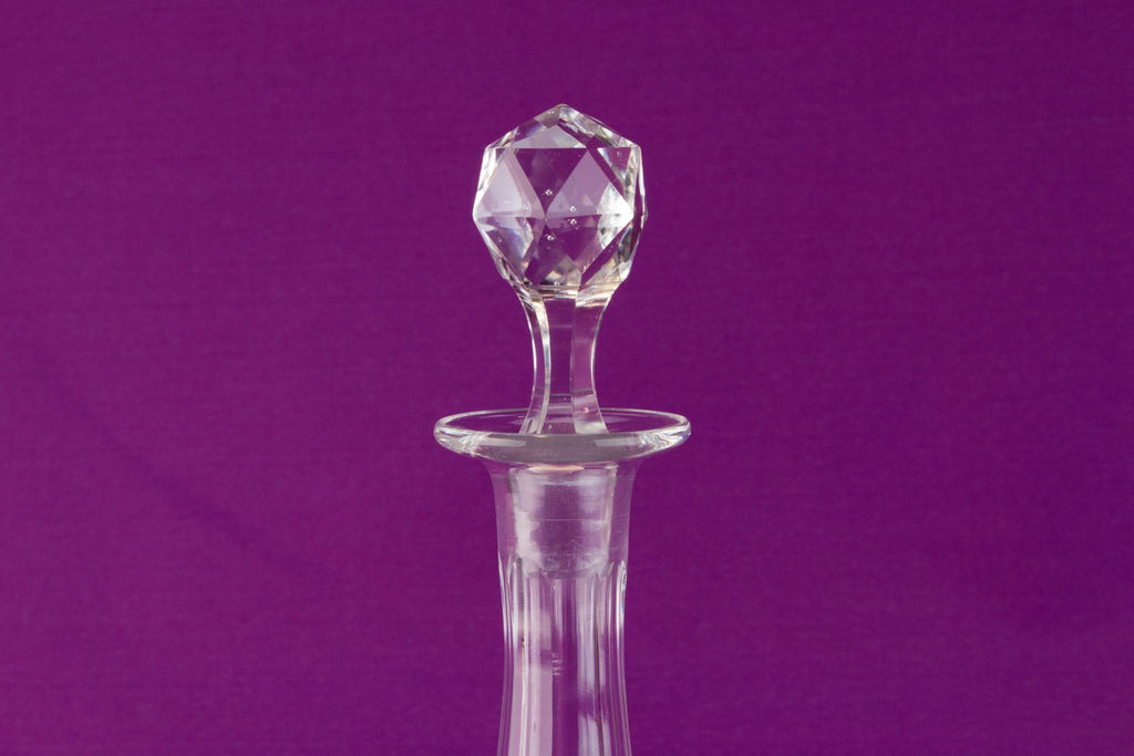 Globular cut glass wine decanter, English circa 1900