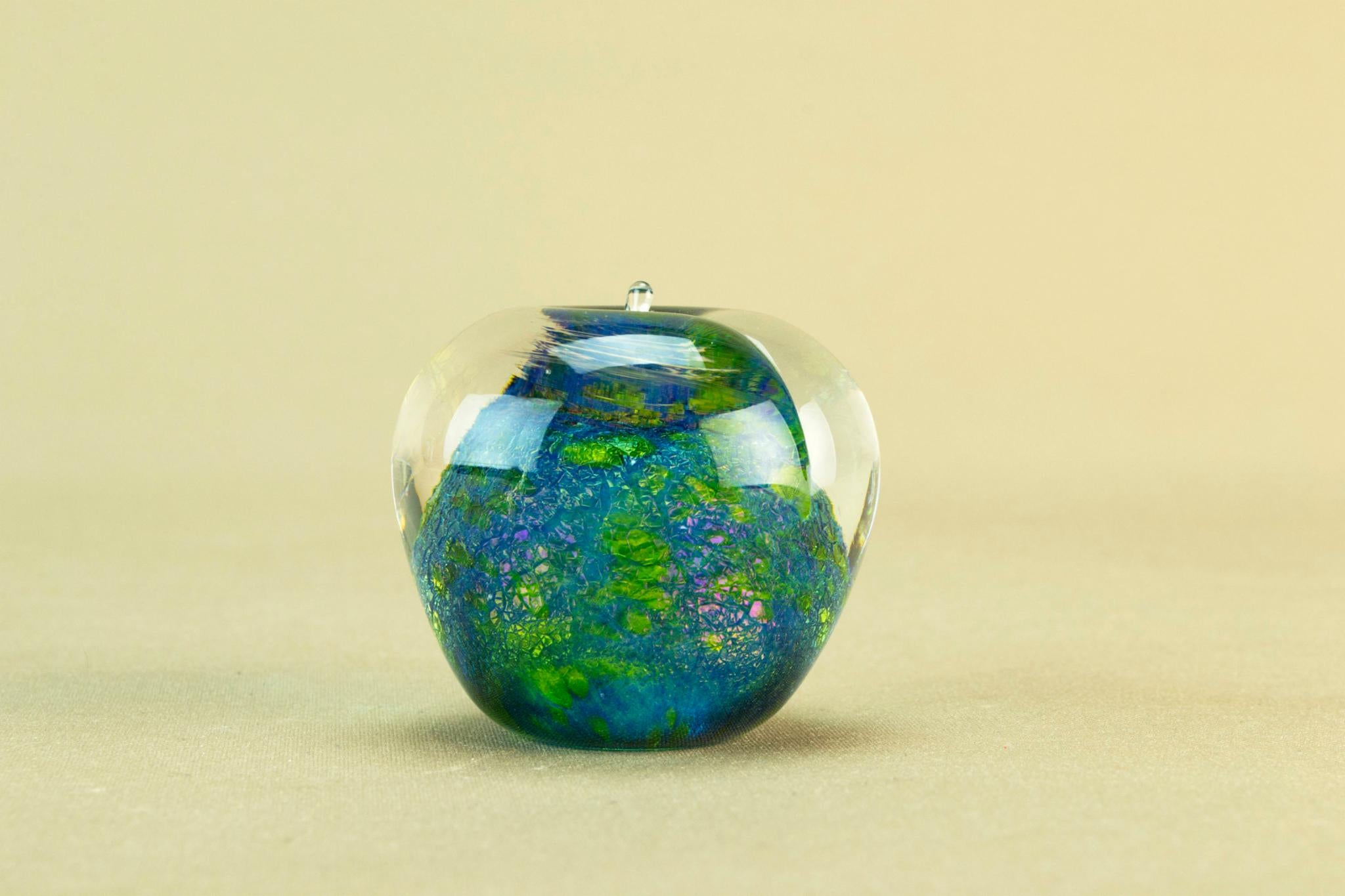Blue glass small apple paperweight