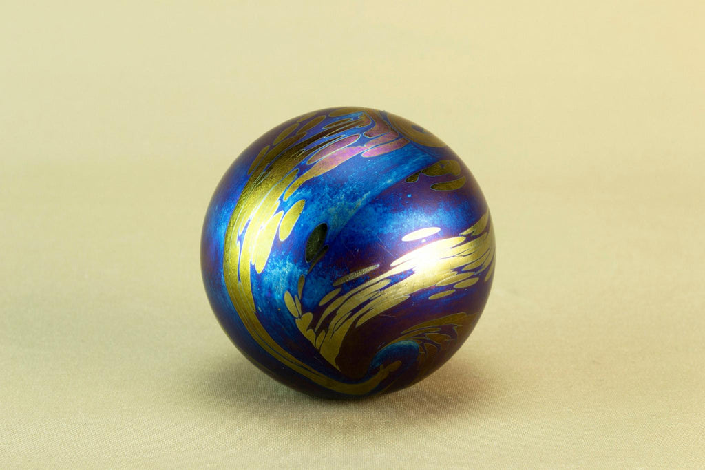 Blue lustre glass paperweight by Glasform