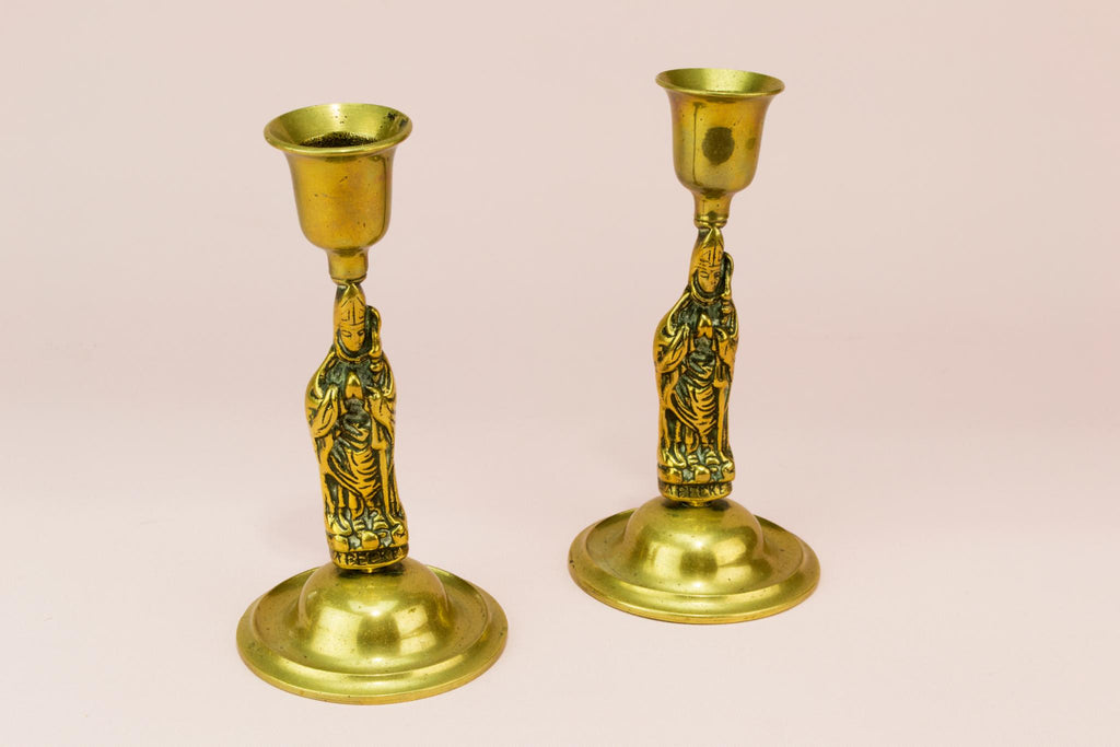 2 Thomas Becket brass candlestick, English 19th century