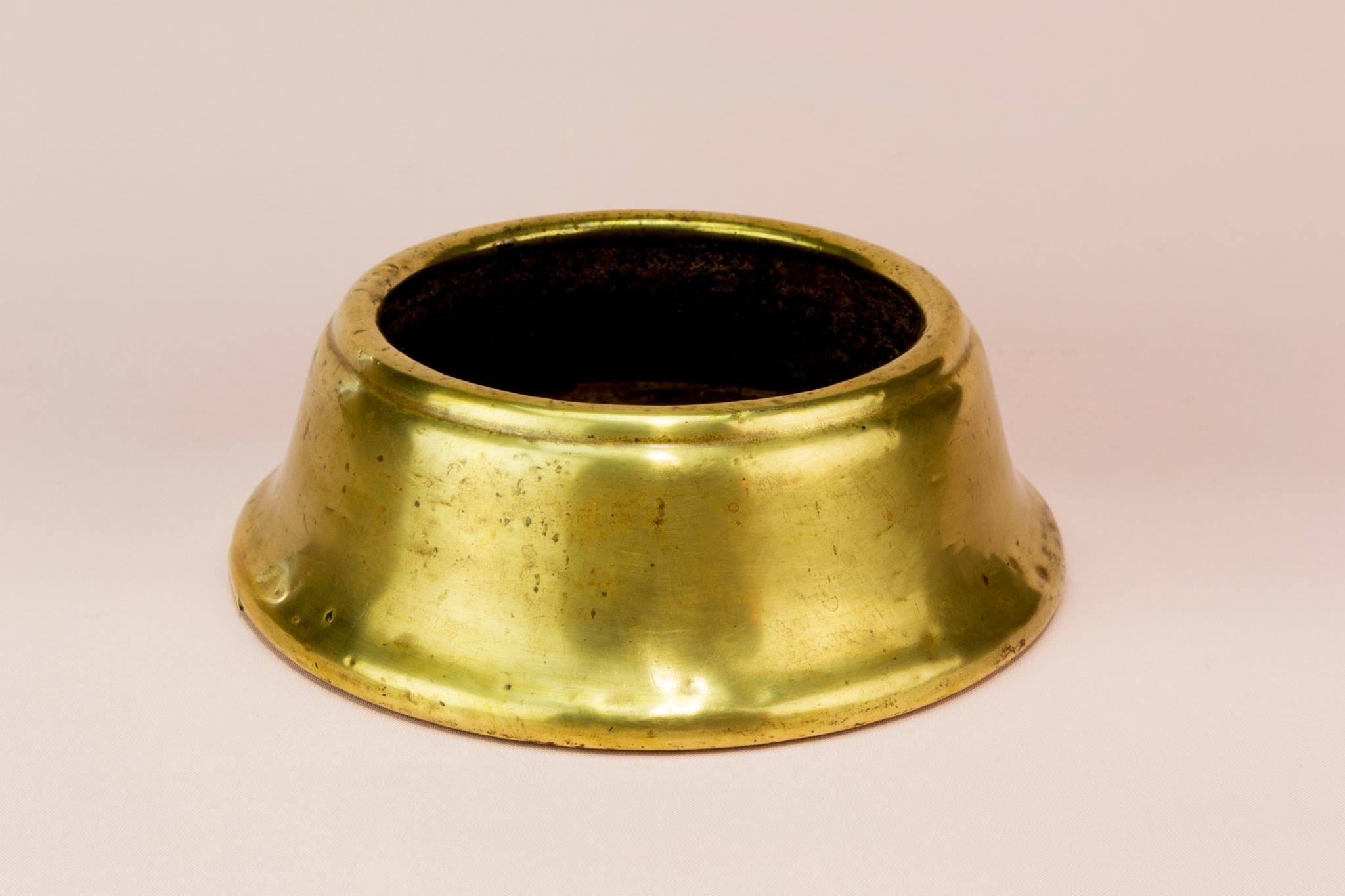 Solid brass hallway umbrella stand base, English early 1900s