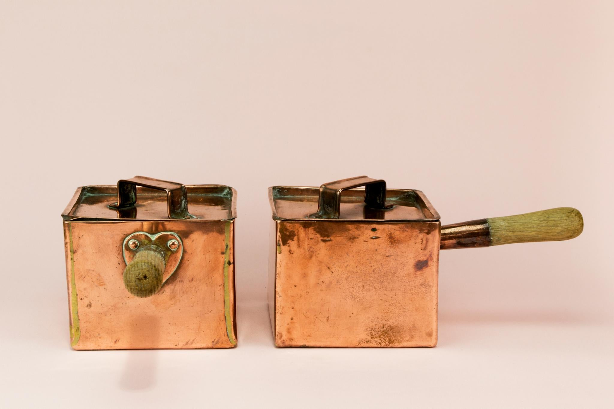 2 Arts & Crafts copper sauce pans, English early 1900s