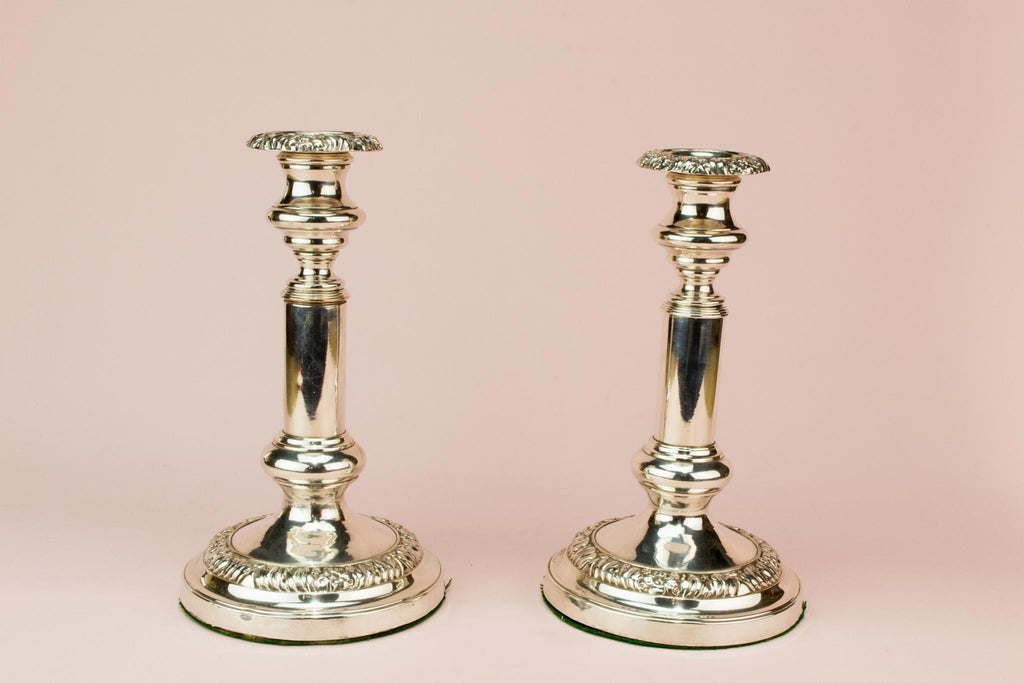 2 Silver Plated Candlestick, English 19th century