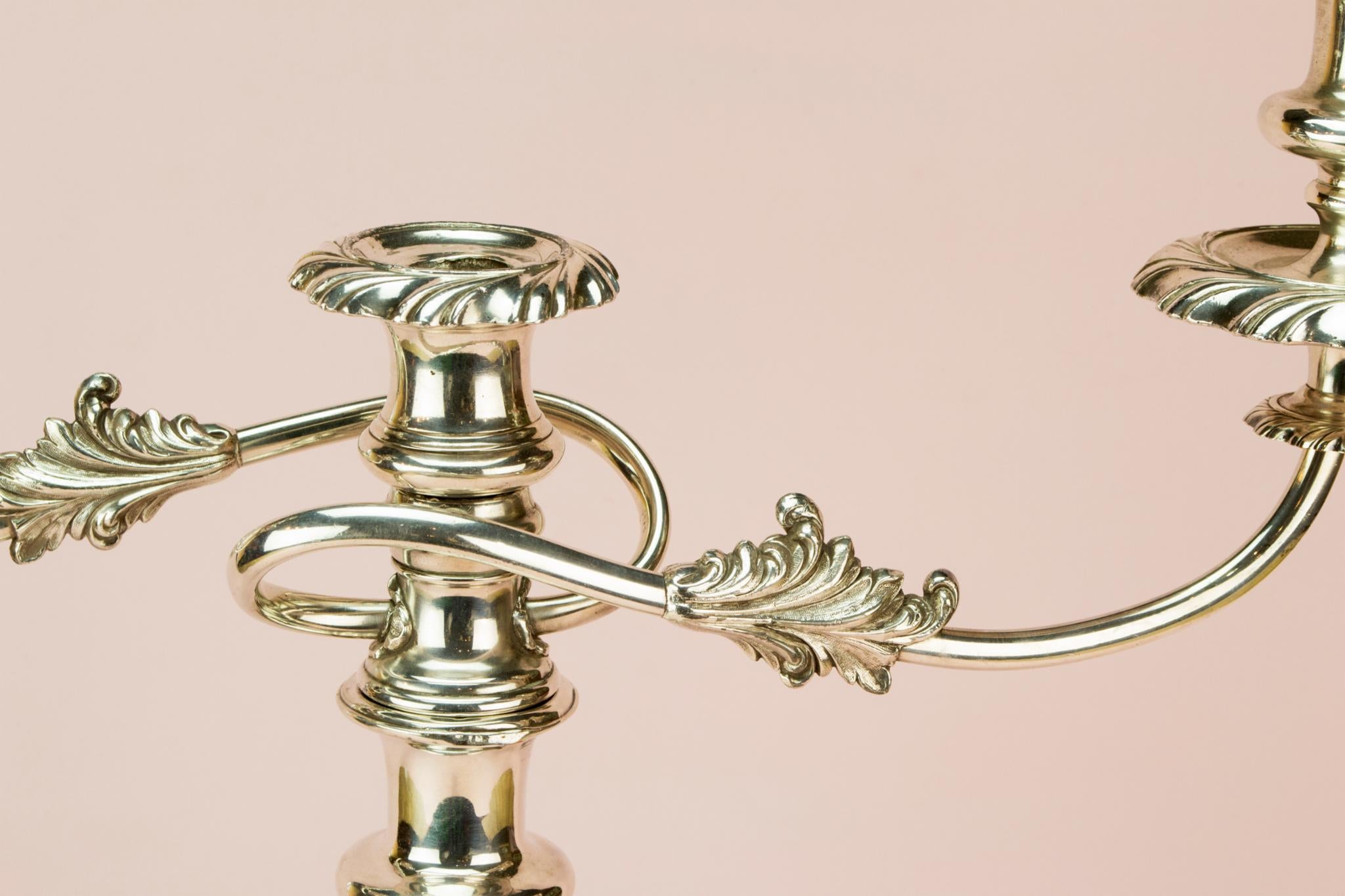 Large 2 Branch Silver Plated Candelabra, English 19th century