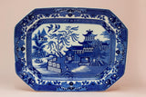 Blue and White Burleigh Ware Willow Platter, English 1930s