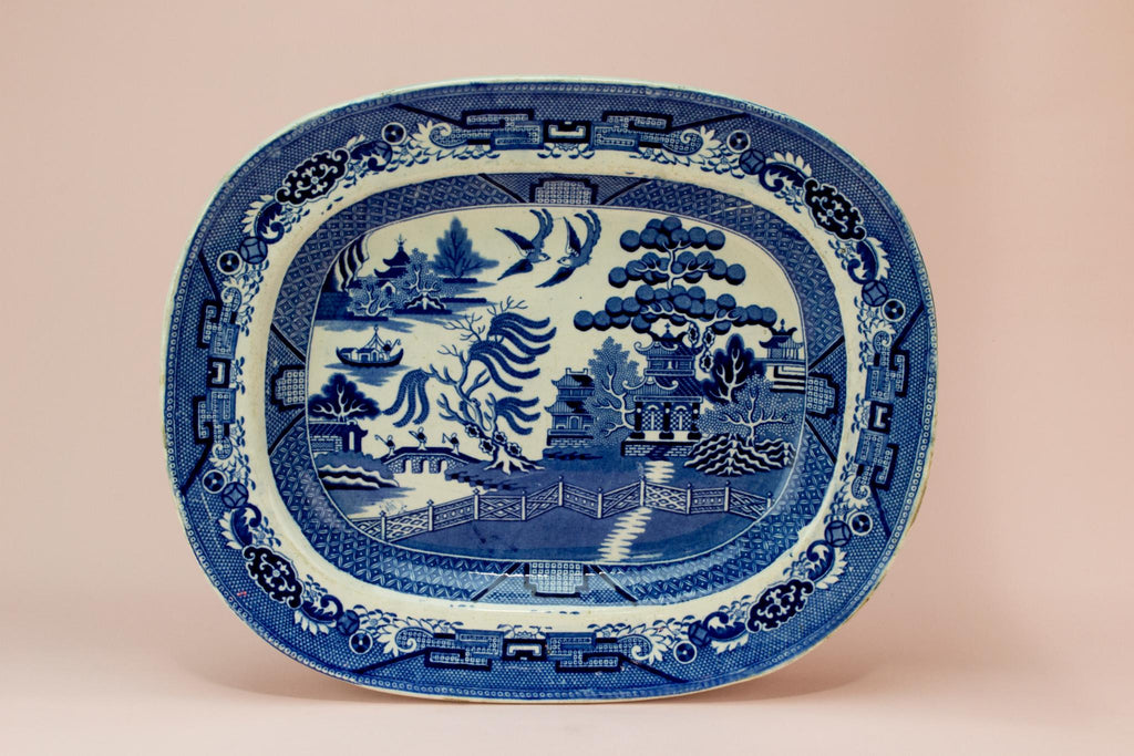 Blue and White Willow Platter, English circa 1900