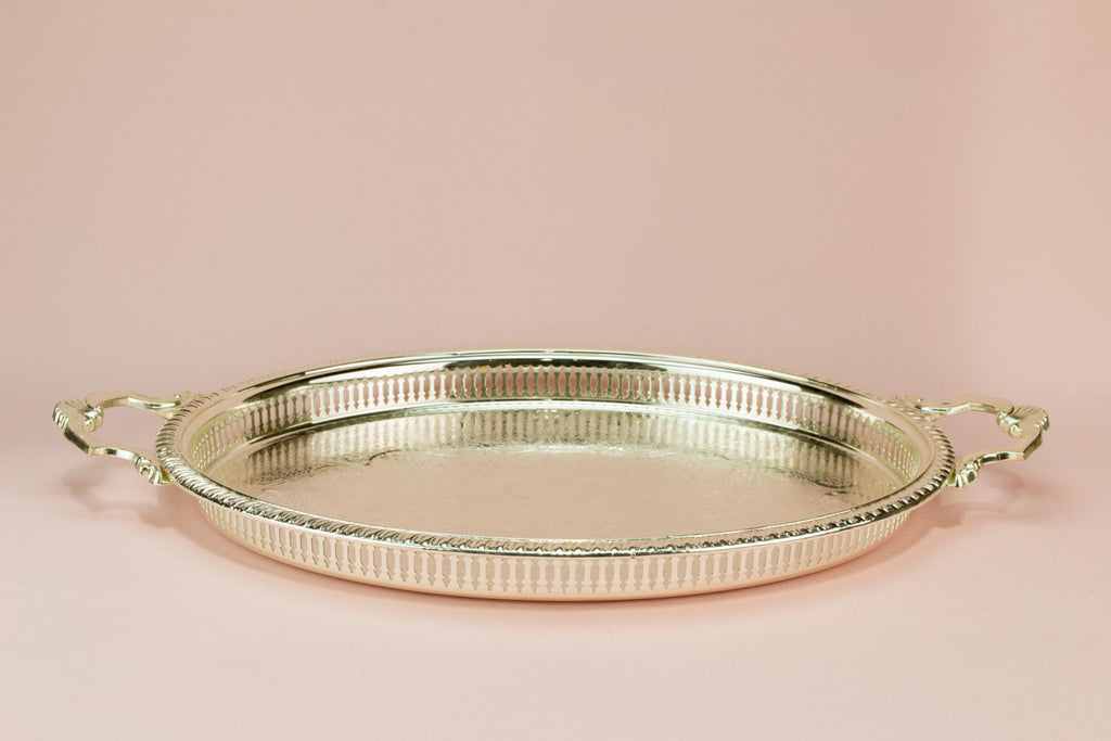 Large silver plated serving tray, English circa 1970