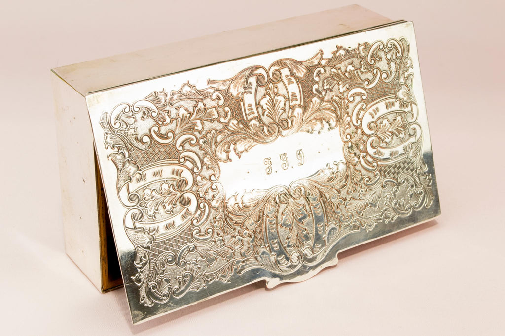Silver plated jewellery box, English 1960s