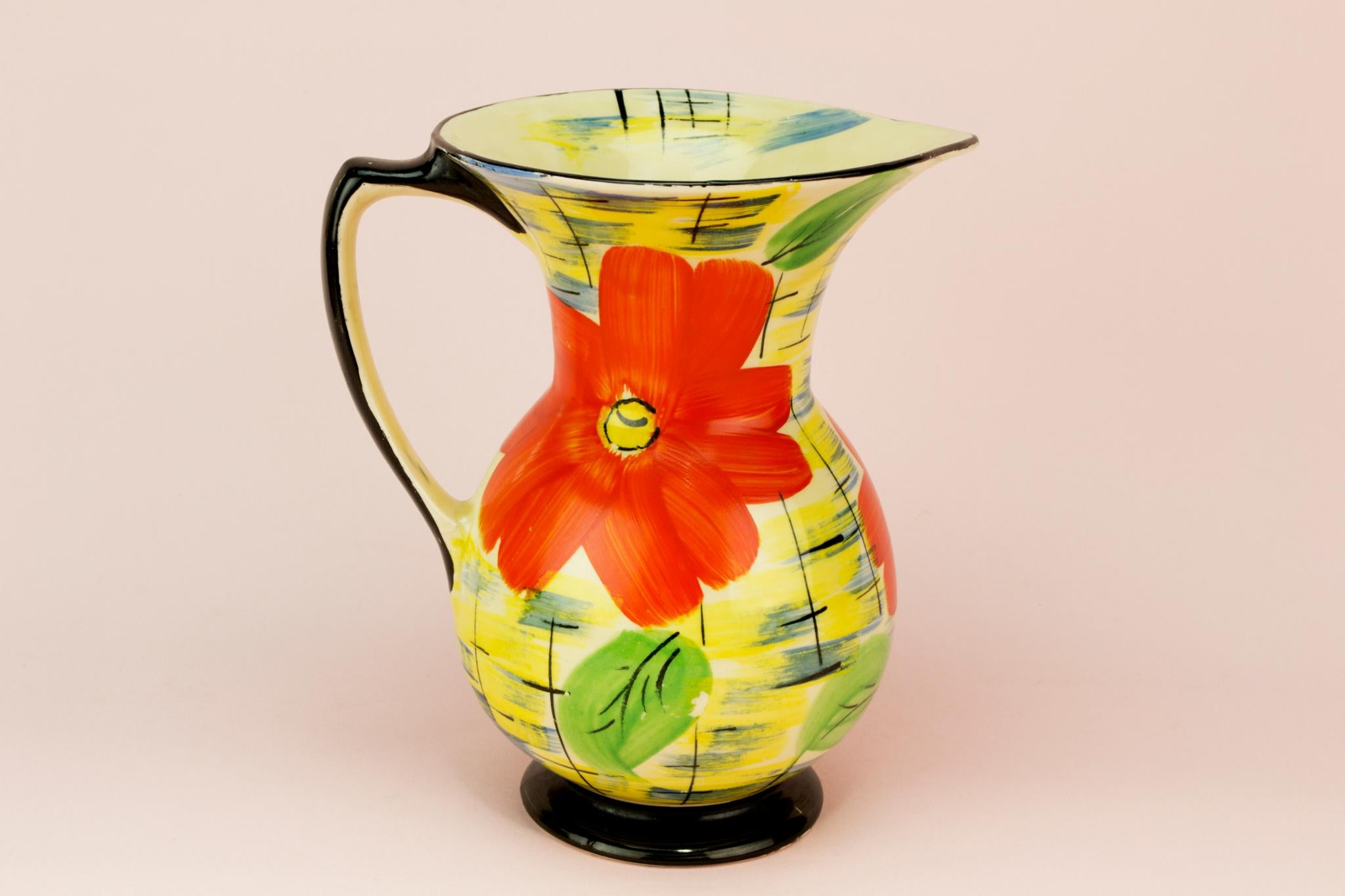 Art Deco colourful water jug, English 1930s