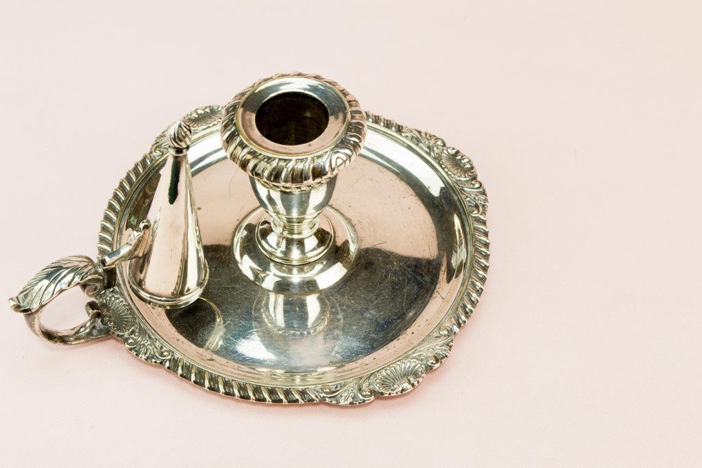 William Hutton Silver plated chamber candlestick, English 1930s