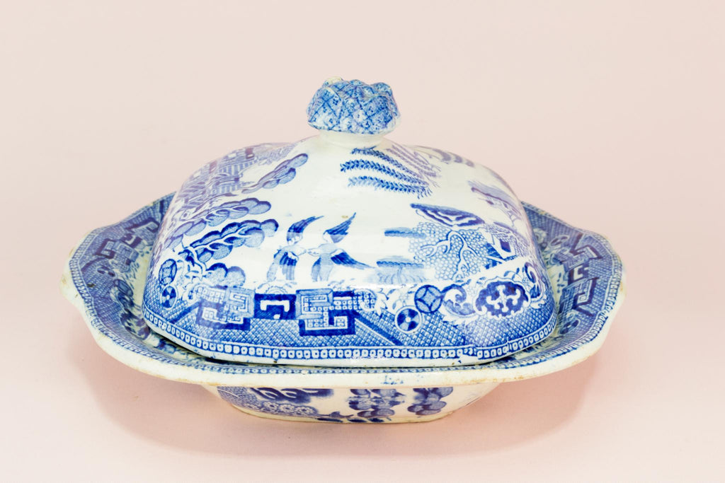 Blue and White Willow Serving Bowl & Lid, English 19th century