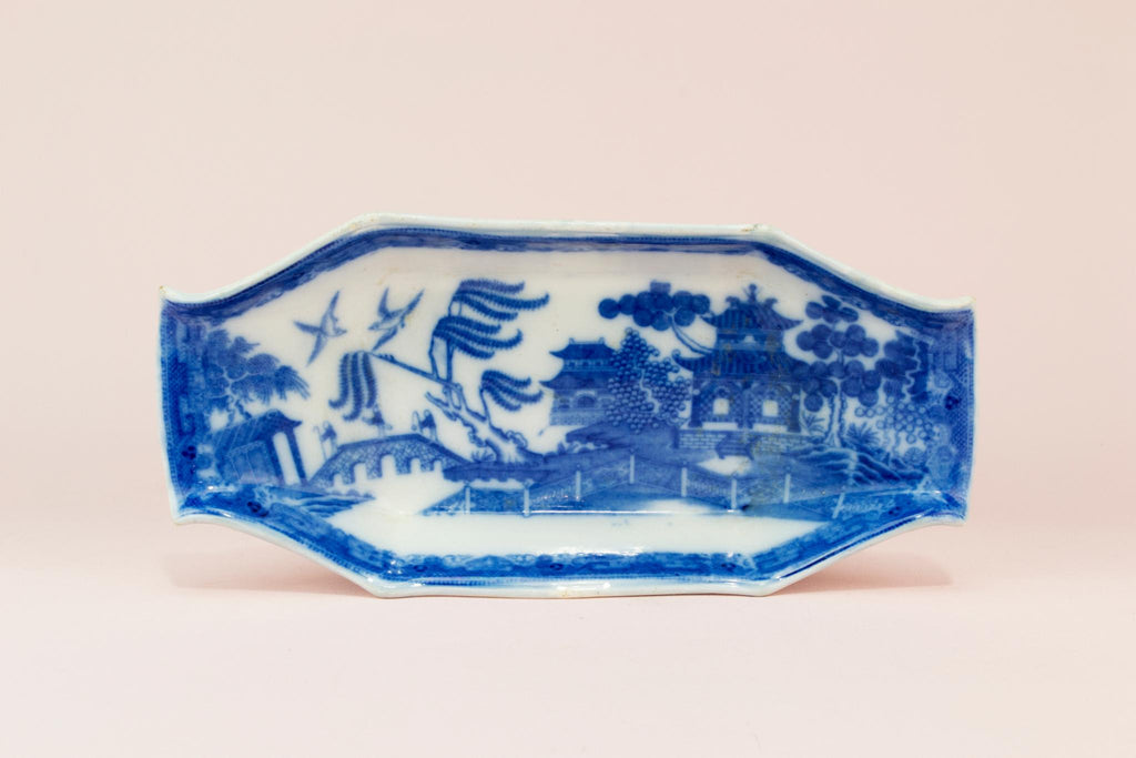 Small blue willow serving dish, English 19th century