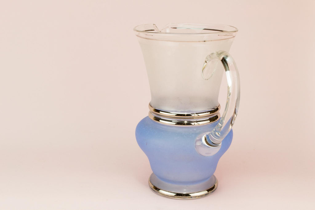 Blue Glass cocktail or water jug, English 1950s