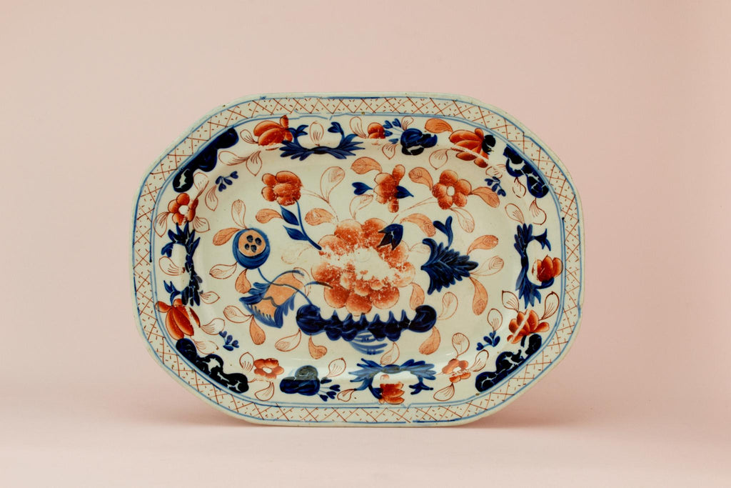 Blue red and white serving platter, English mid 19th century