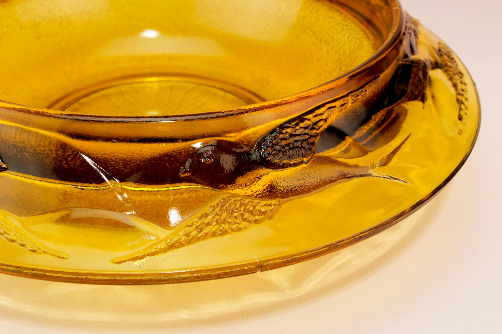 Art Deco Amber glass serving bowl, English 1930s