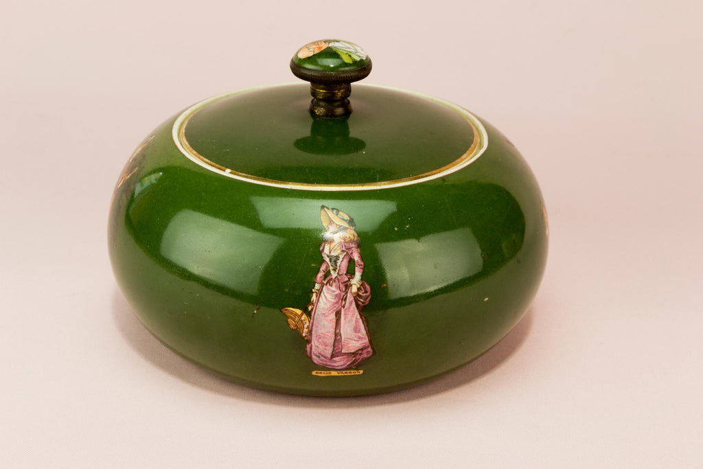 Dressing table ceramic box, English late 19th century