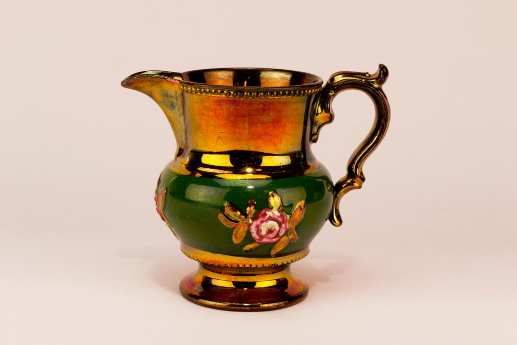 Small green lustre milk jug, English 1830s