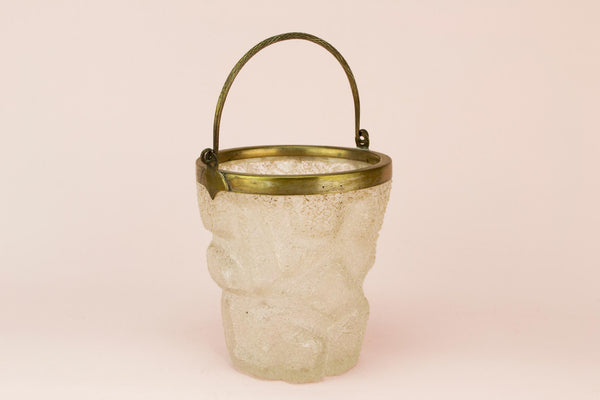 Frosted glass ice bucket, English early 1900s