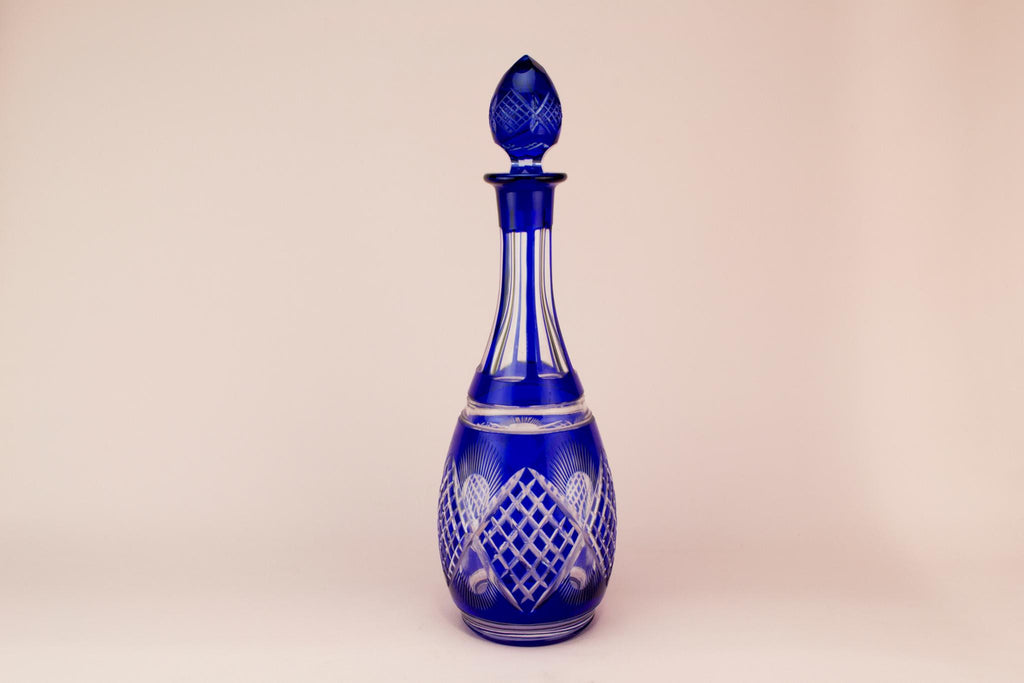 Tall Blue cut glass wine decanter