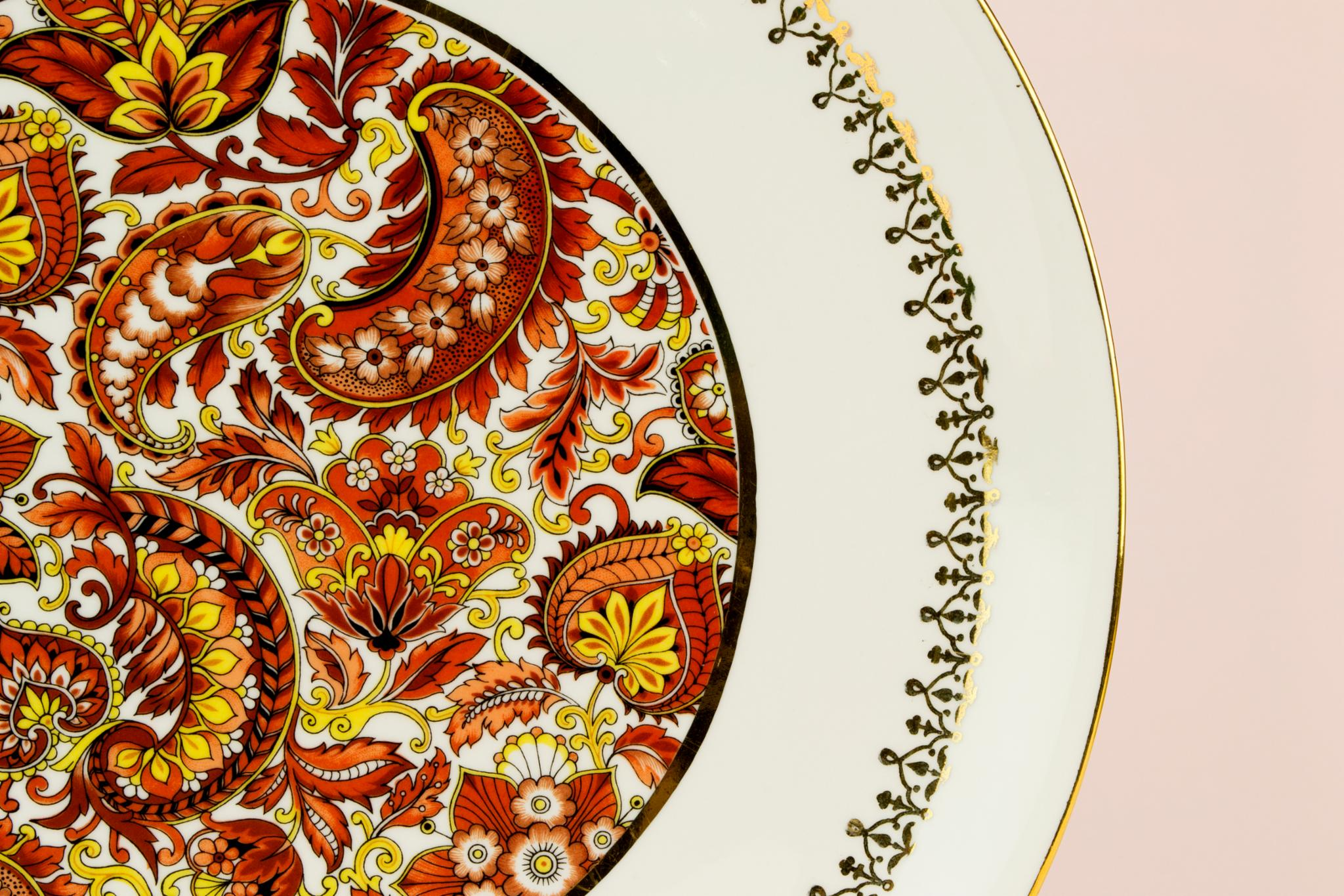 Large paisley cake platter by Pillivuyt