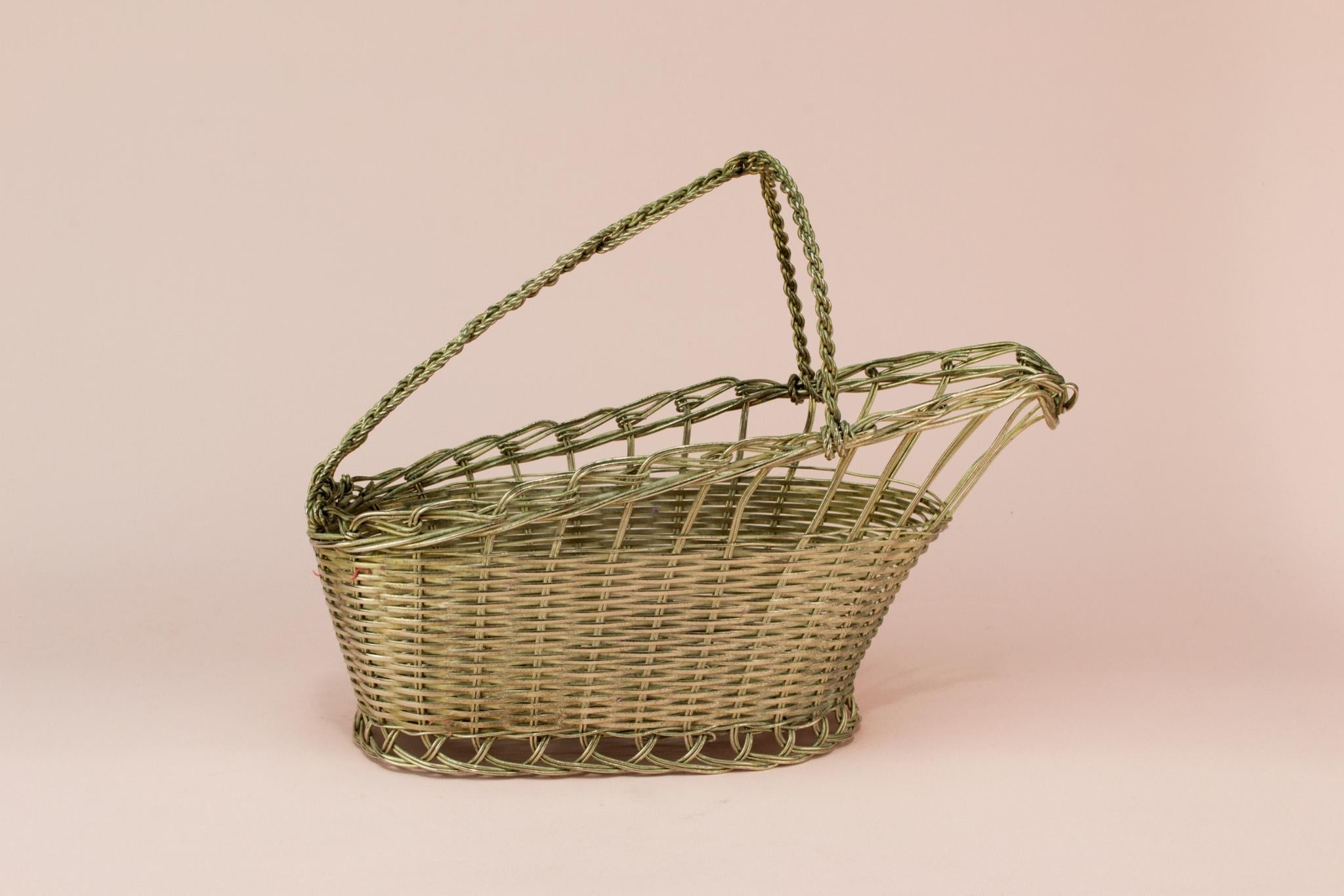 Woven wire wine bottle basket carrier mid 20th century lavish shoestring - Wire wine bottle carrier ...