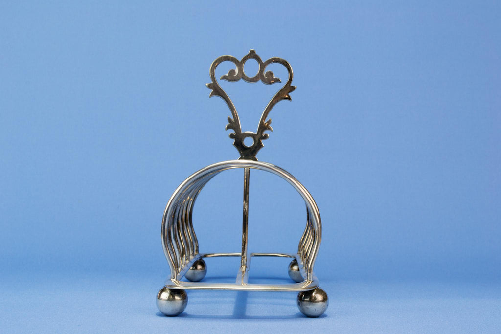 Walker & Hall silver plated toast rack, English 1890s