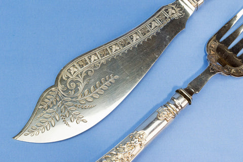 Large silver plated serving fork and knife, English 1890s