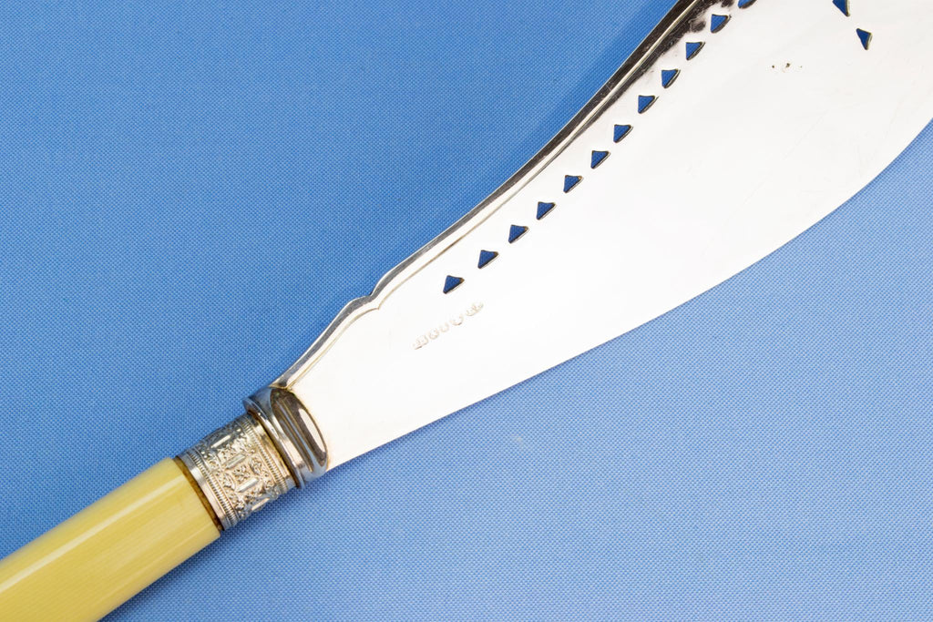 Silver plated ivory serving fork and knife, English circa 1900